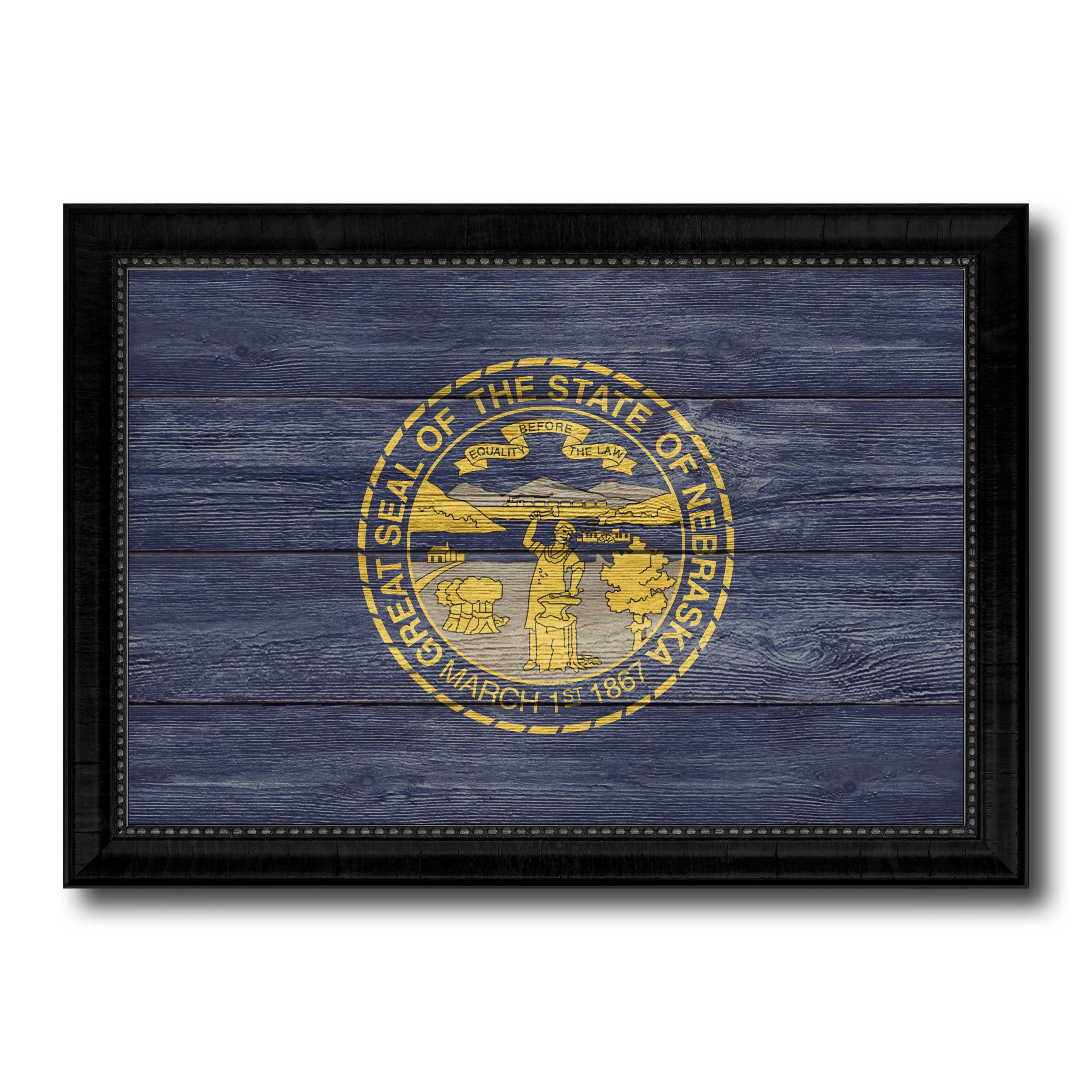 Nebraska state flag texture canvas print with black picture frame