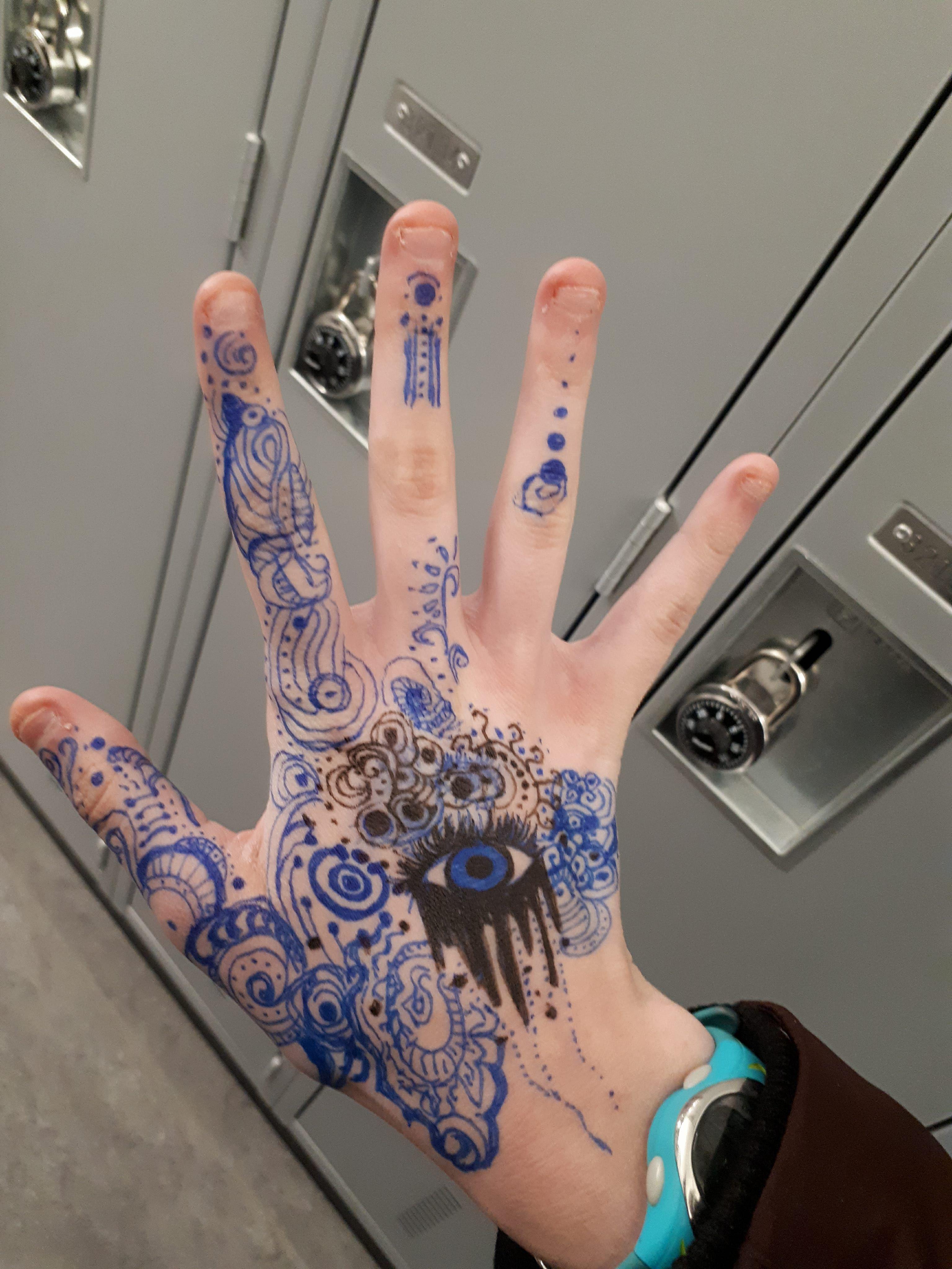 Pen Doodles On Hand Hand Art Hand Doodles Pen Doodles Hand Art