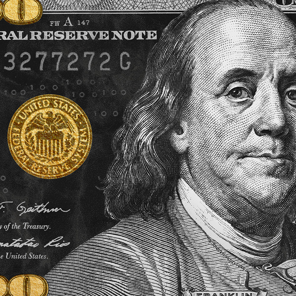 Gold And Silver Ben Franklin 100 Dollar Bill Pop Art Money Canvas Modern Wall Art 100 Dollar Bill 100 Dollar 100 Dollar Bill Tattoo