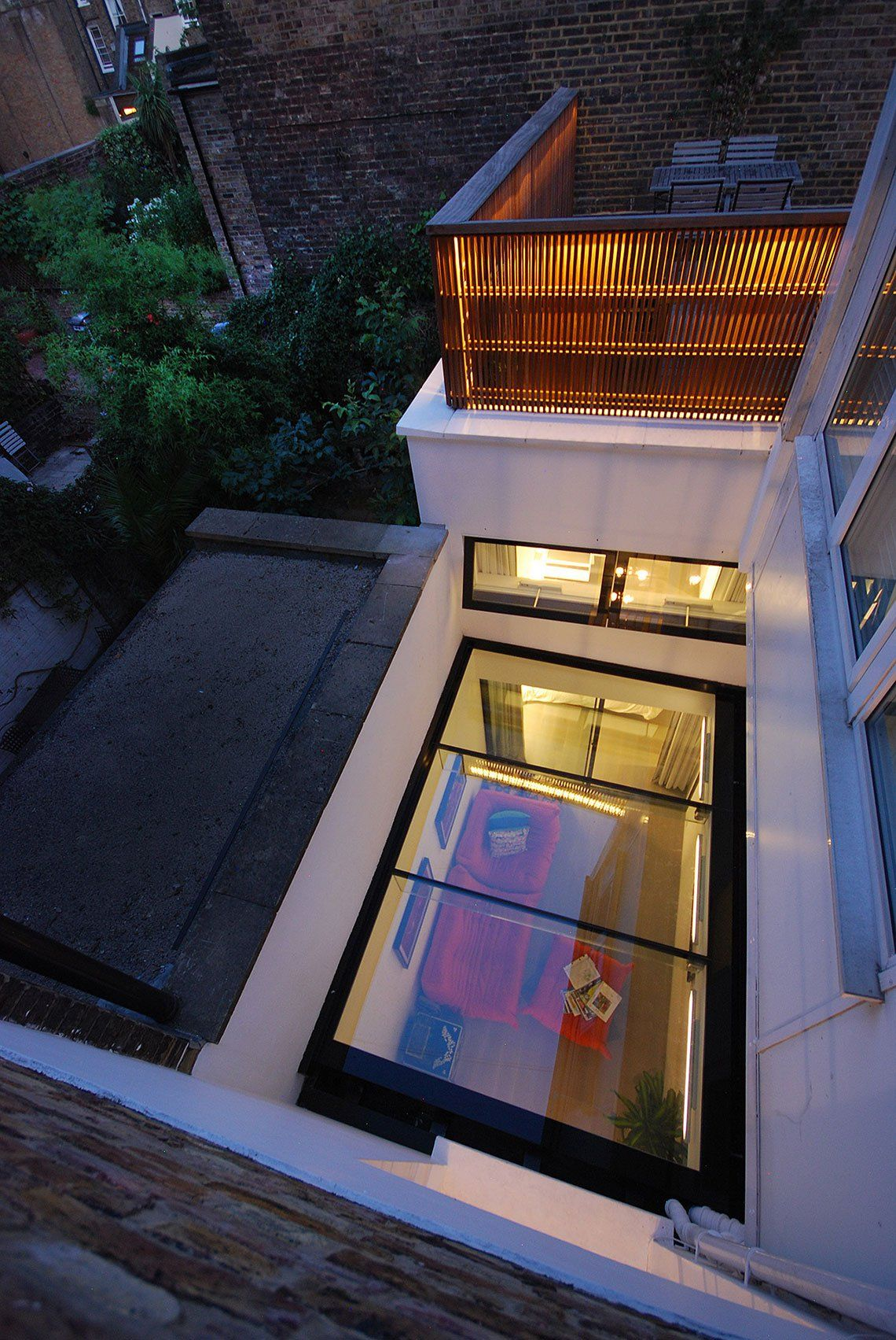 Structural Glass Roof Over Basement Extension In London