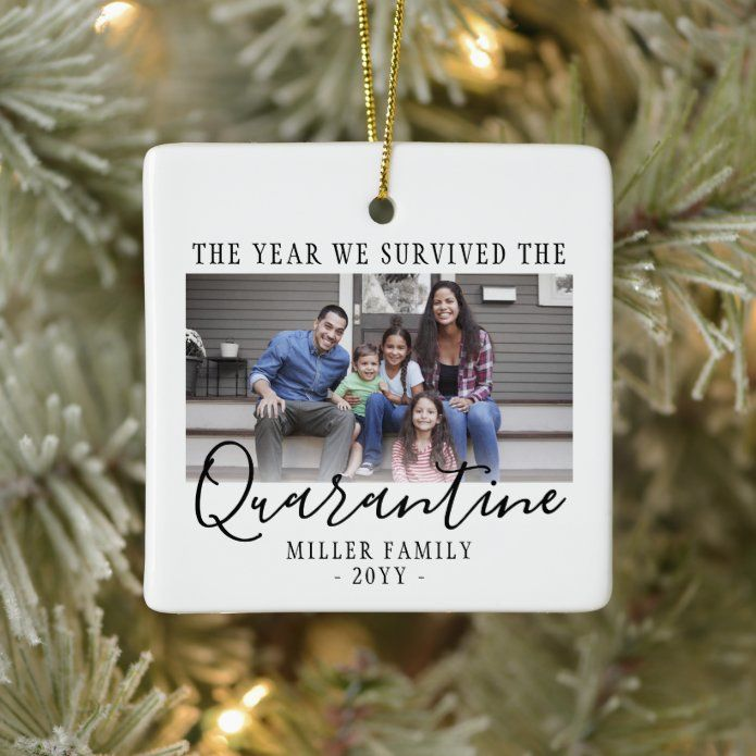 Any Text 2 Photo We Survived Quarantine White Ceramic Ornament - tap/click to personalize and buy #CeramicOrnament #2 #photo #two #pictures #funny