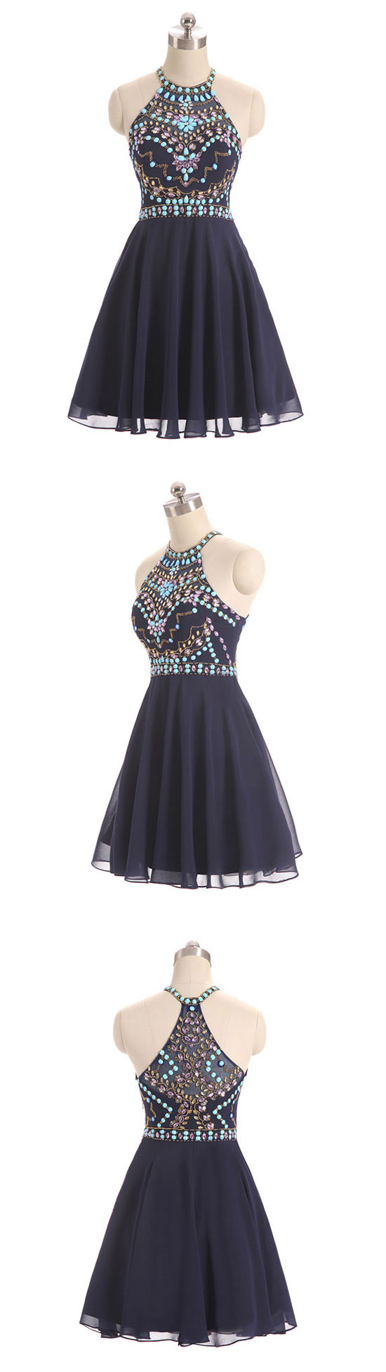 Dark blue beads short prom dress cute dark blue homecoming dress