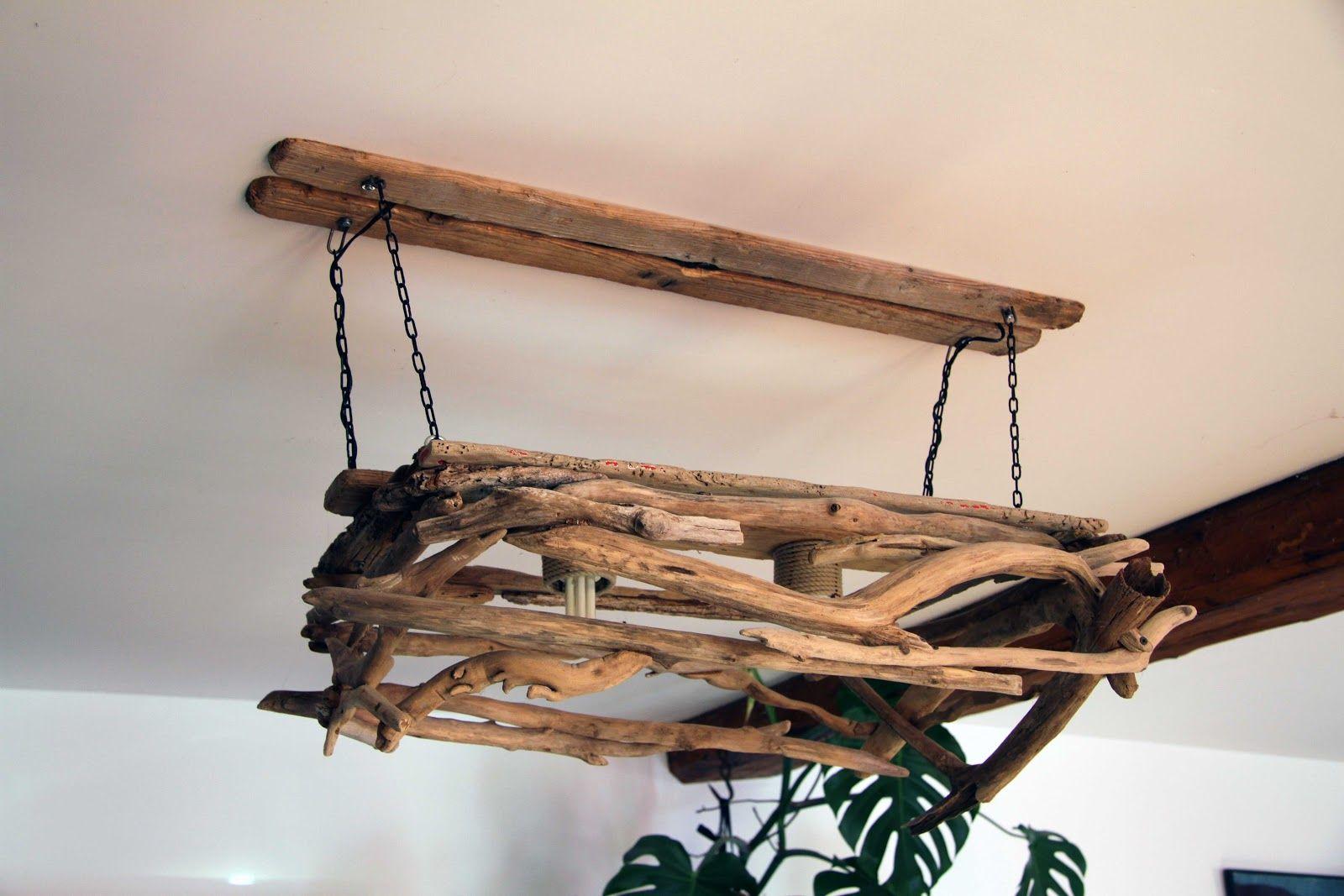 Bois flott bricolage recup recyclage deco marine le blog de recup o bois flott lustre - Fabriquer lustre bois flotte ...