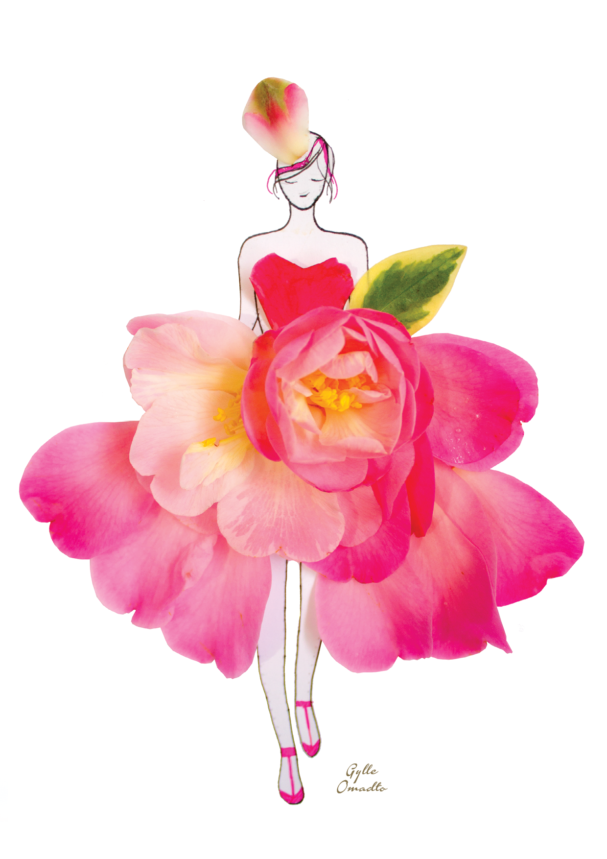Fashion Illustrations With Real Flower Petals As Clothing Made Of Real Flower Flower Art Flower Drawing Flower Petal Art