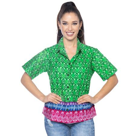 c3e52999e6a1 La Leela Womens Hawaiian Button Down Front Collar Shirts Short Sleeve  Blouses Gifts Beach Swim Ladies Dressy Tops And Tees Camp 100% Cotton Print  Green ...