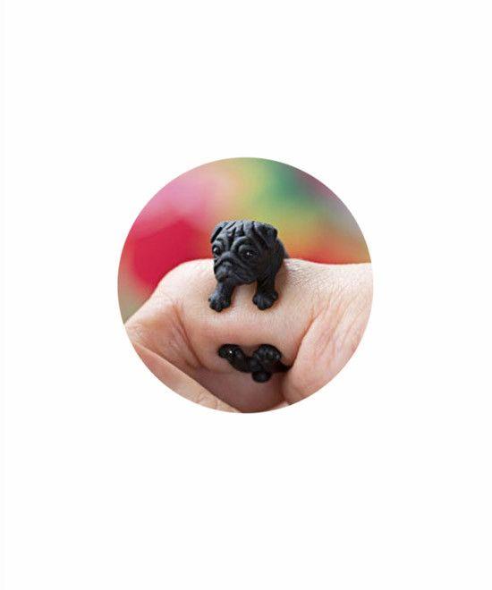 Pug Dog Ring- Black- Benefits animal rescue. #FashionForACause