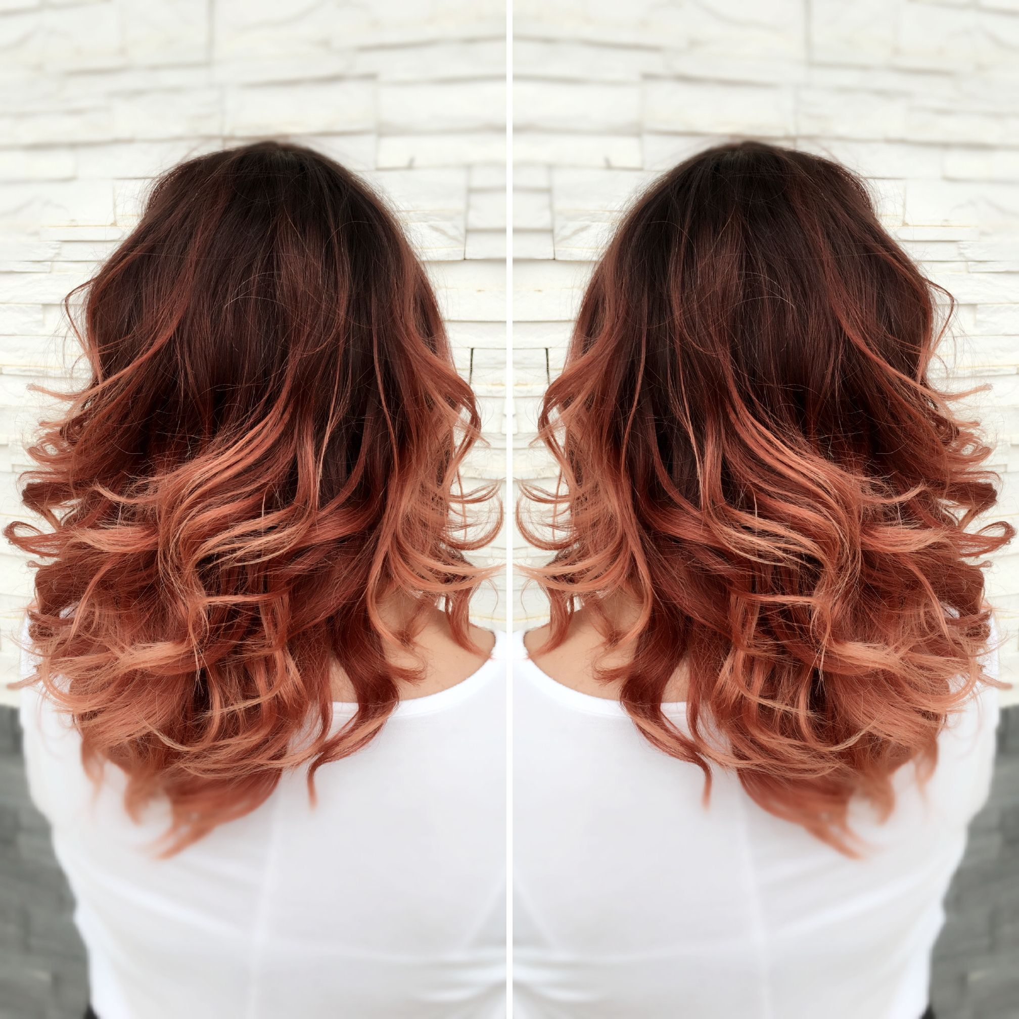 Winter Hair Color Ideas For Brunettes: Red Ombr Rose Gold Ombr Red To Rose Gold Ombr Medium