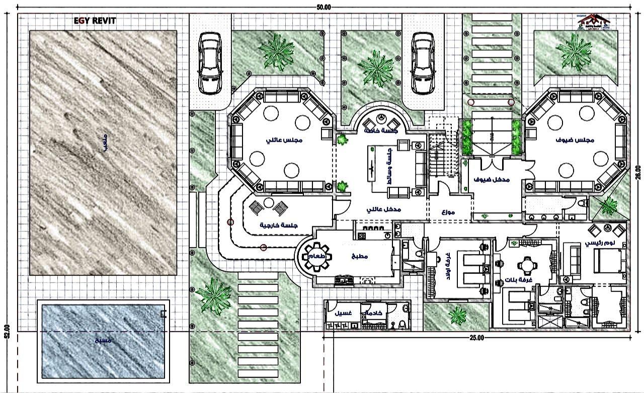 مخطط فيلا دور واحد مع حديقة و ملعب و مجلس خارجي من تصميمات ايجي ريفيت Egy Revit السعودية الرياض New House Plans House Plans How To Plan