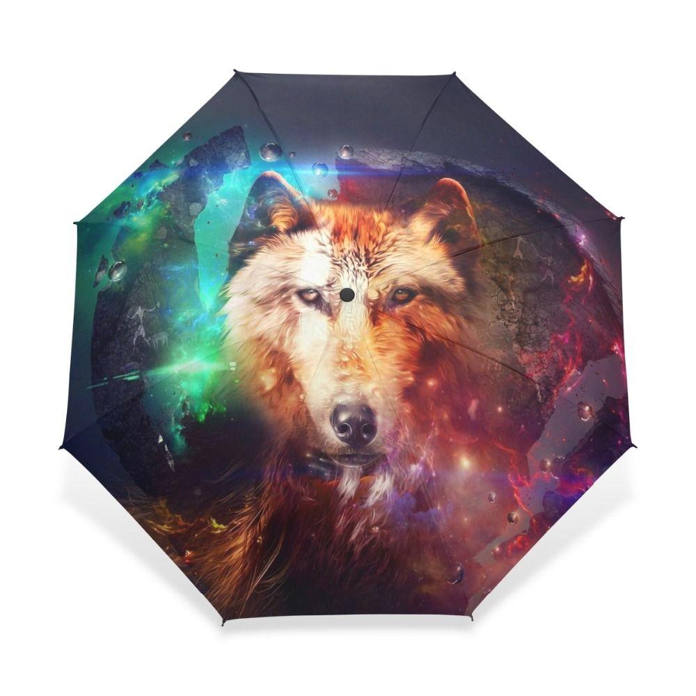 c3ab3a9940ff Three Folding Colorful Wolf Animal Kids Windproof Umbrella Fashion ...