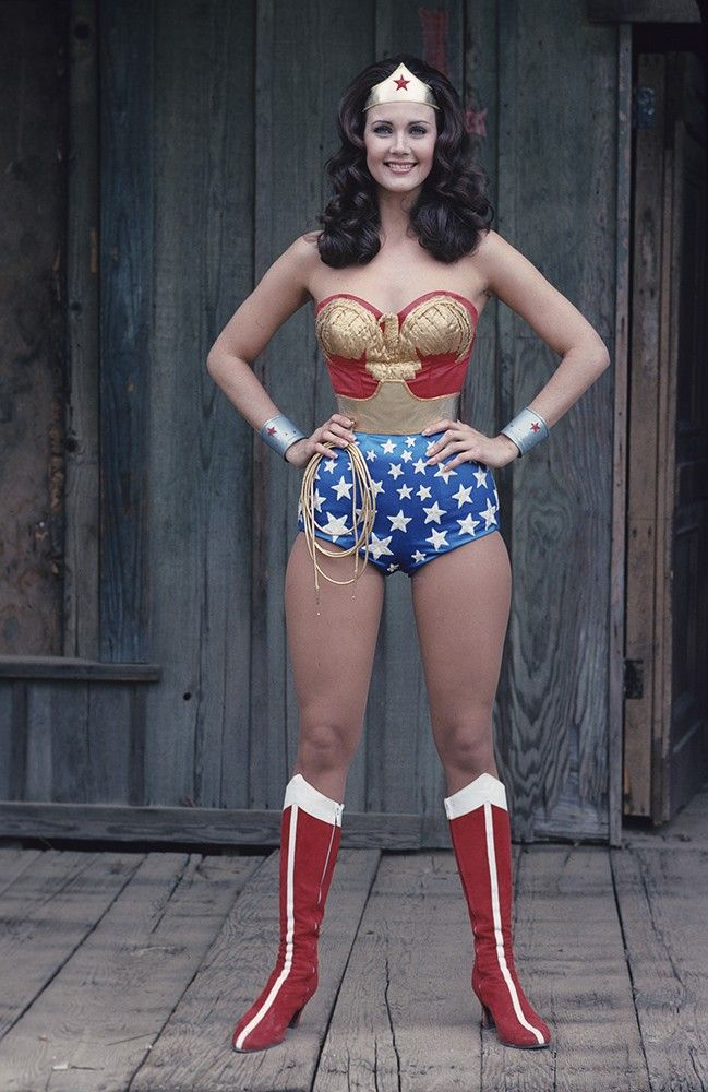 3bede391a49d7 Wonder Woman, played by Lynda Carter, wearing the costume that closely  resembles a corset.