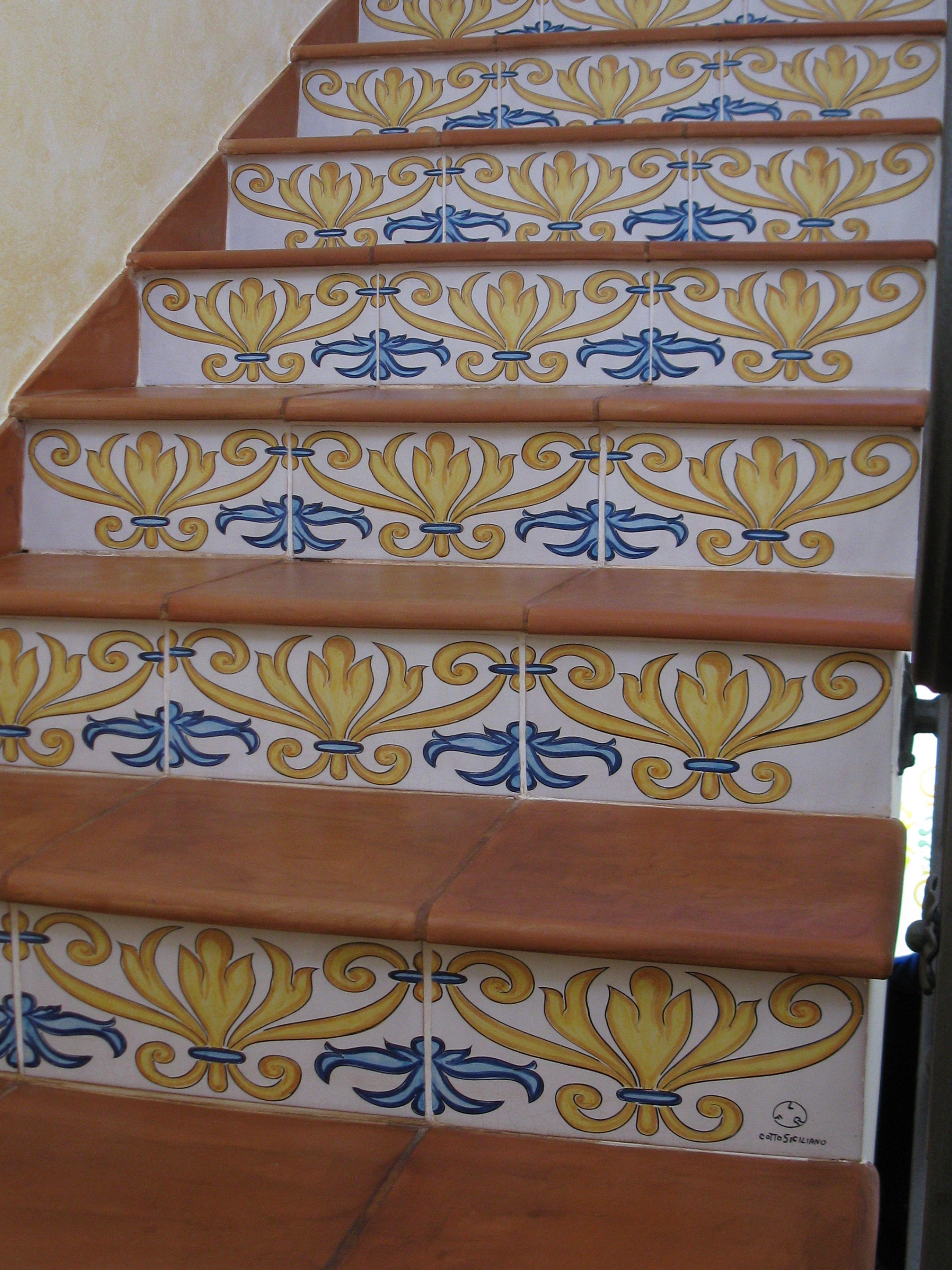 La fauci cotto siciliano scalaincotto scaladecorata - Scale in ceramica ...