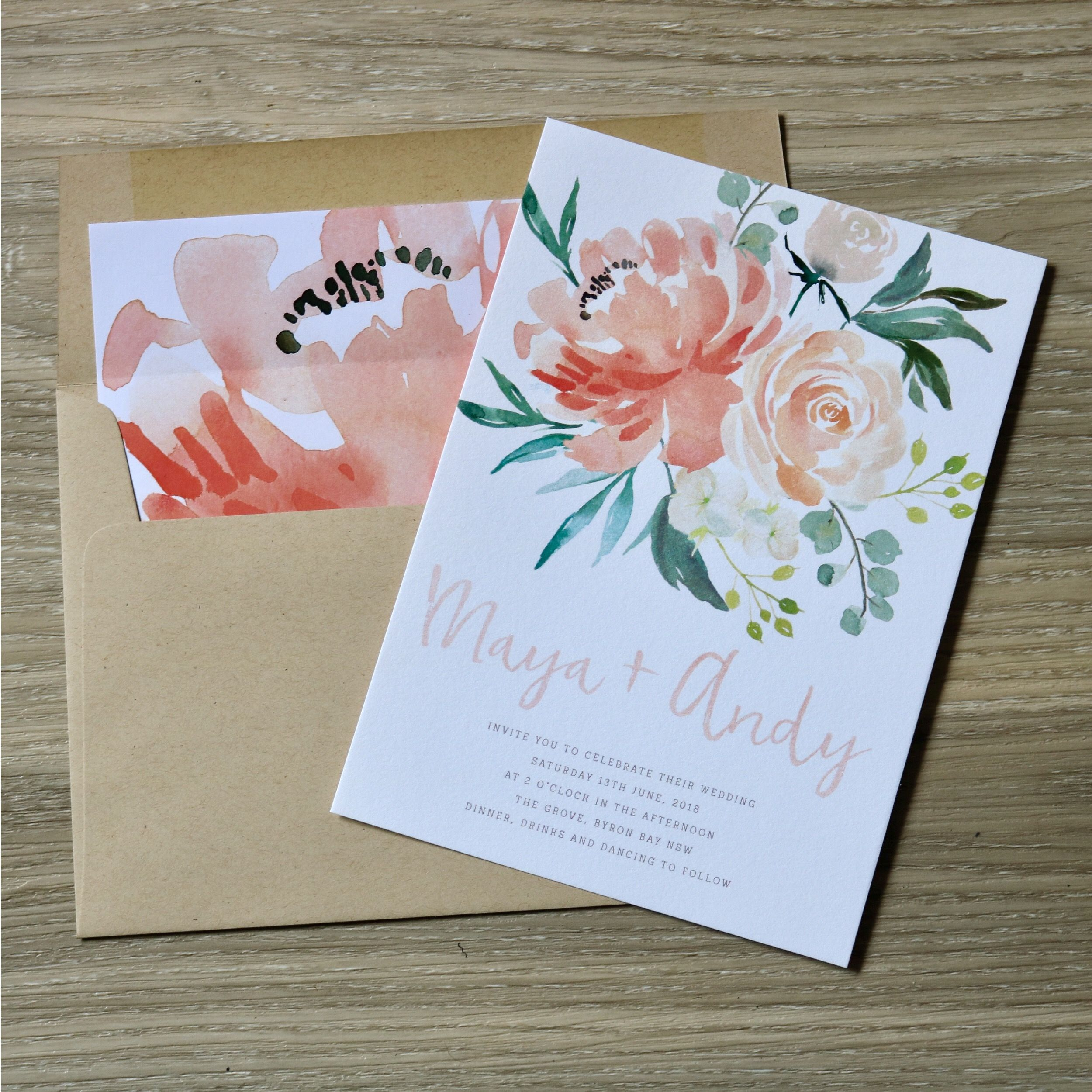 Floral Wedding Invitations | Garden Wedding Invitations | Apricot Invitations | Wedding Stationery | Matching envelope liner | Kraft envelope | Peach invitation | Garden Wedding | Botanical Wedding | Spring Wedding | Summer Wedding