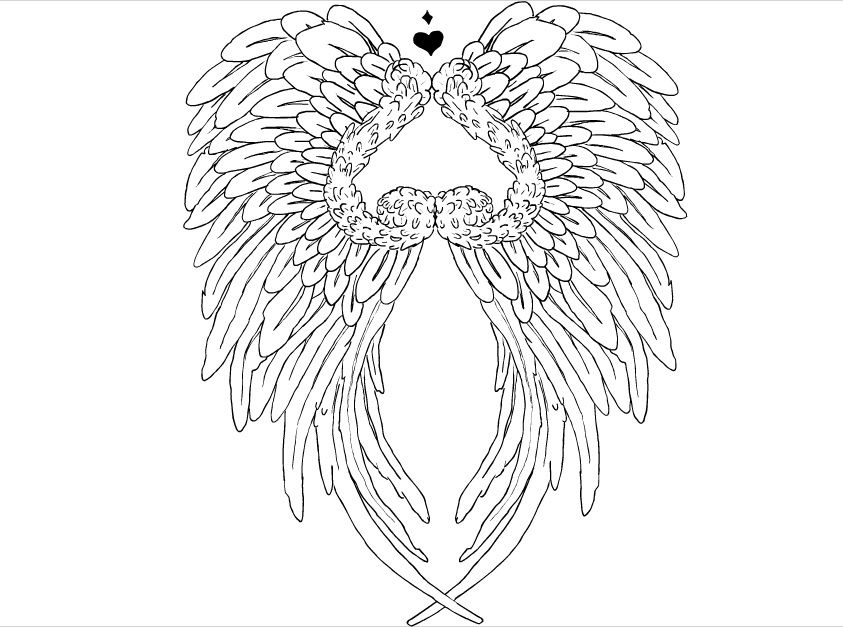 Line Art Wings : Heart with angel wings tattoo by