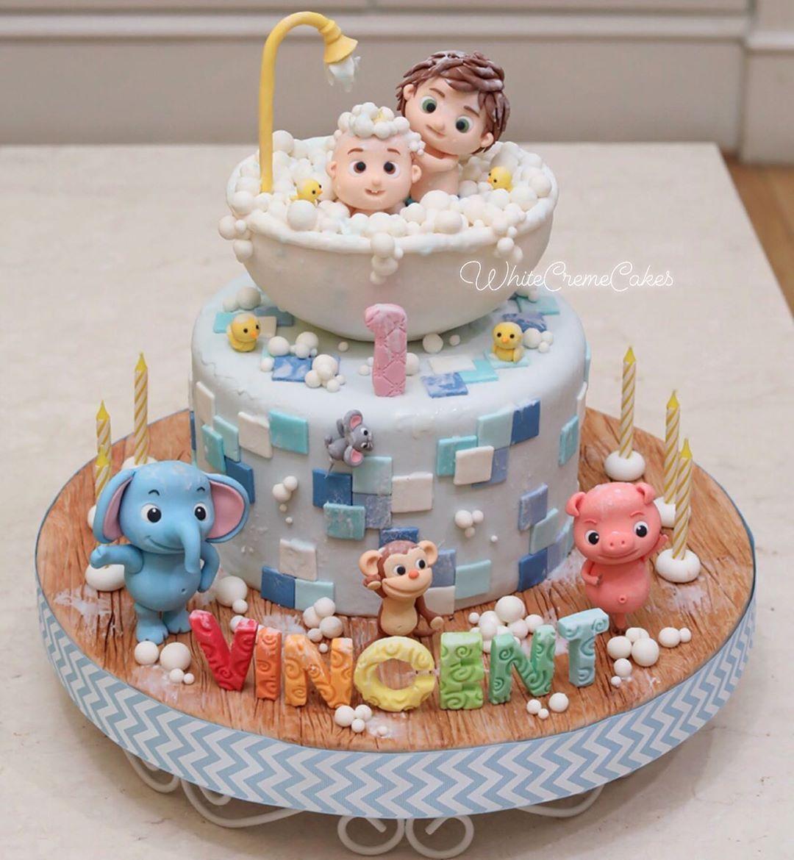Phenomenal White Creme Cakes On Instagram Cocomelon Theme Cake Just For Birthday Cards Printable Trancafe Filternl