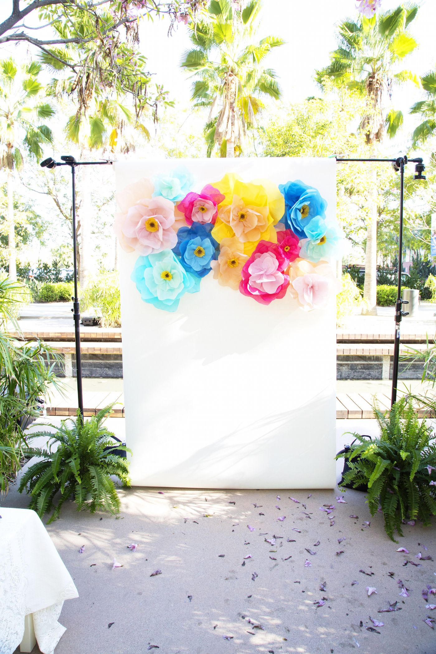 Be Our Guest: Disneyland-themed bridal shower | New Orleans wedding shower inspiration | DIY floral photo booth backdrop | [ https://style.disney.com/living/2016/05/22/be-our-guest-disneyland-themed-bridal-shower/ ]