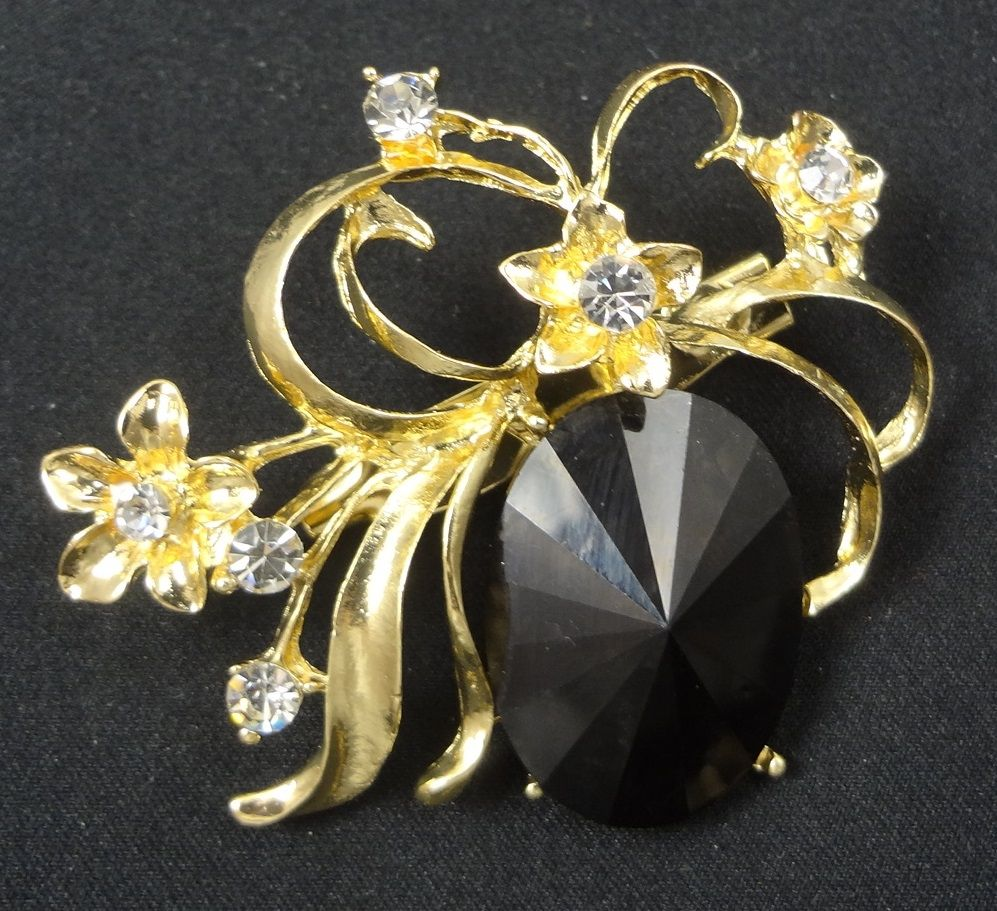 Flower Brooch - F0094 - Gold Tone Black