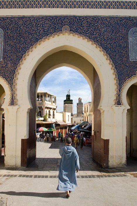 Puerta azul de Fez el Bali, Marruecos