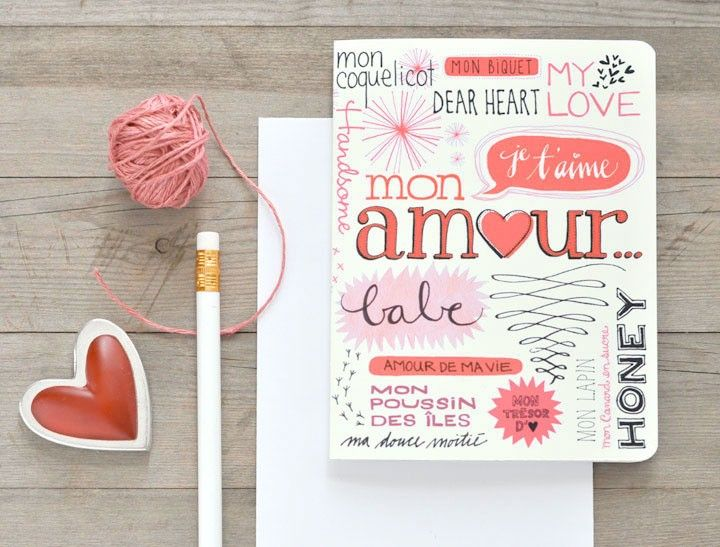 Hand Lettered Bilingual Valentines Day Card