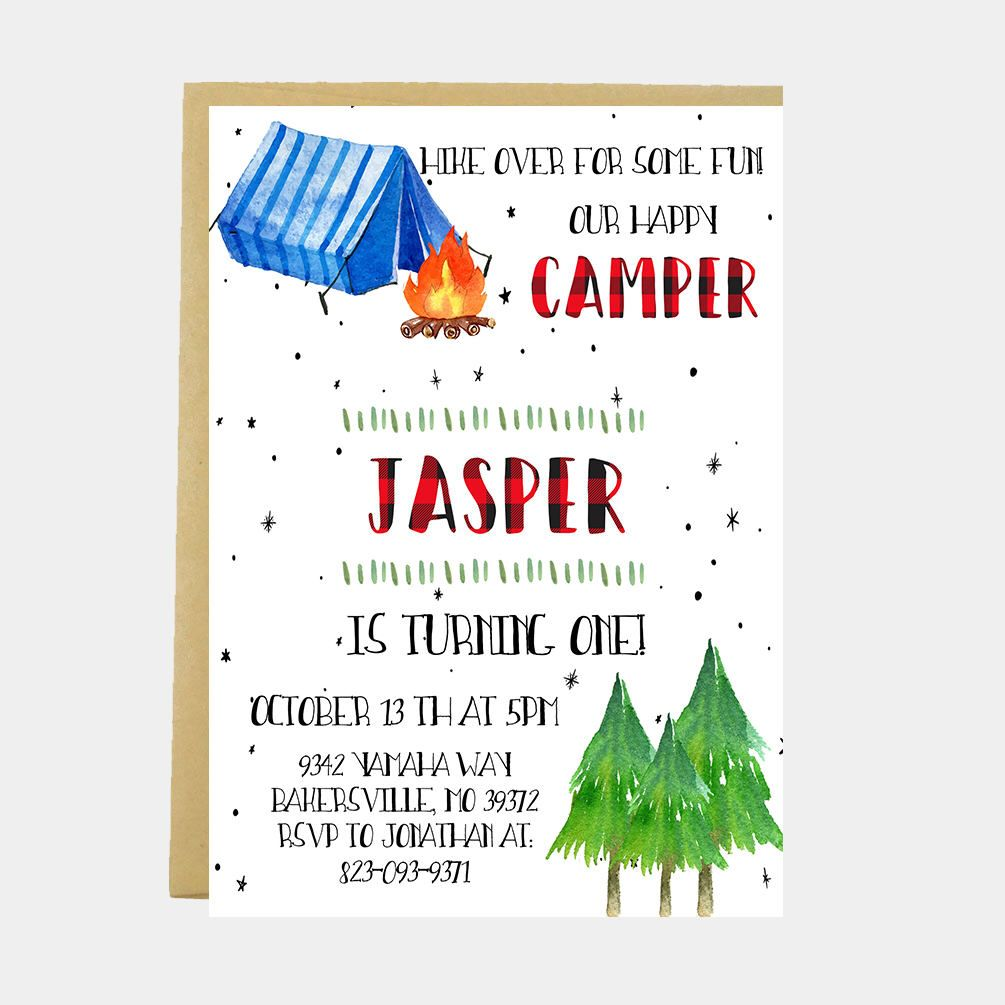 Camping Invitation, Camp Birthday Invitation, Hiking, Tent, Campfire ...