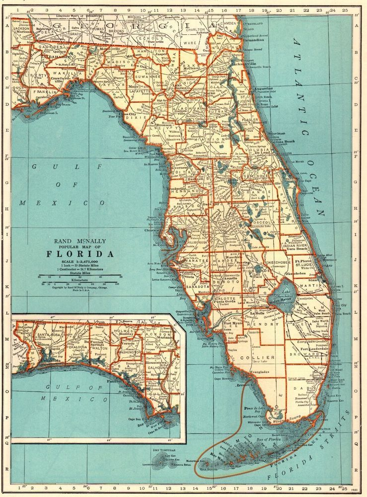 1940 Antique FLORIDA Map Vintage State Map of Florida Gallery Wall ...