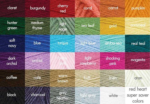 Sugar N Cream Yarn Color Chart