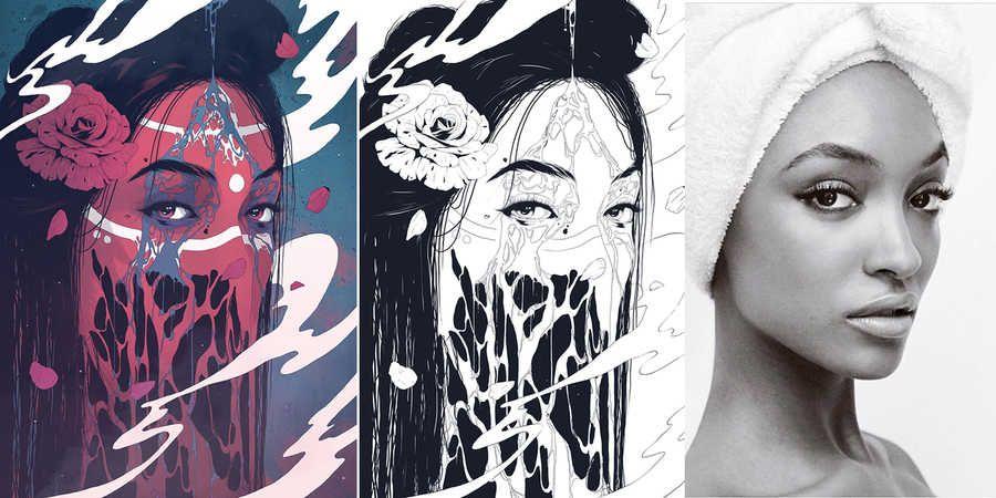 Dibujos hechos con fotografas de personas reales  Personas