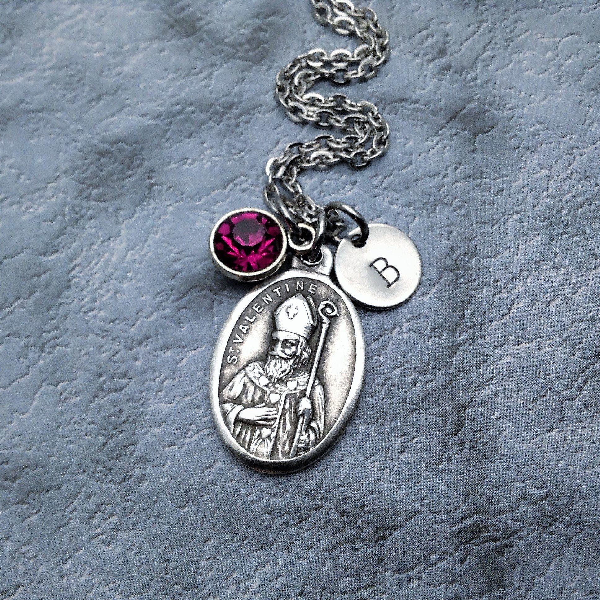 Saint St Valentine Necklace. Engagement Gift. Wedding Gift