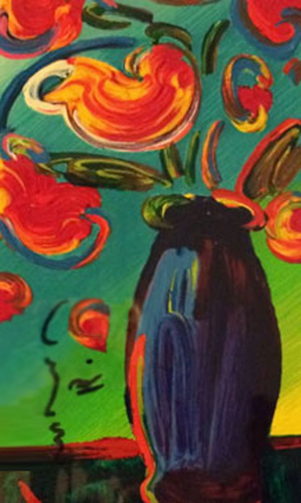 Vase Of Flowers 2010 By Peter Max Serigraph On Wove Paper Peter