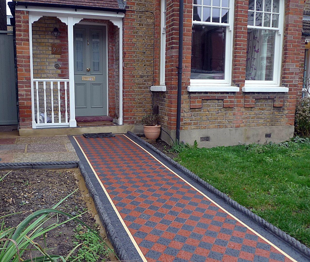 Ornamental Stone Victorian Mosaic Multi Colour Mosaic Charcoal Rope Edge  Tiles Metal Rail Metal Gate York