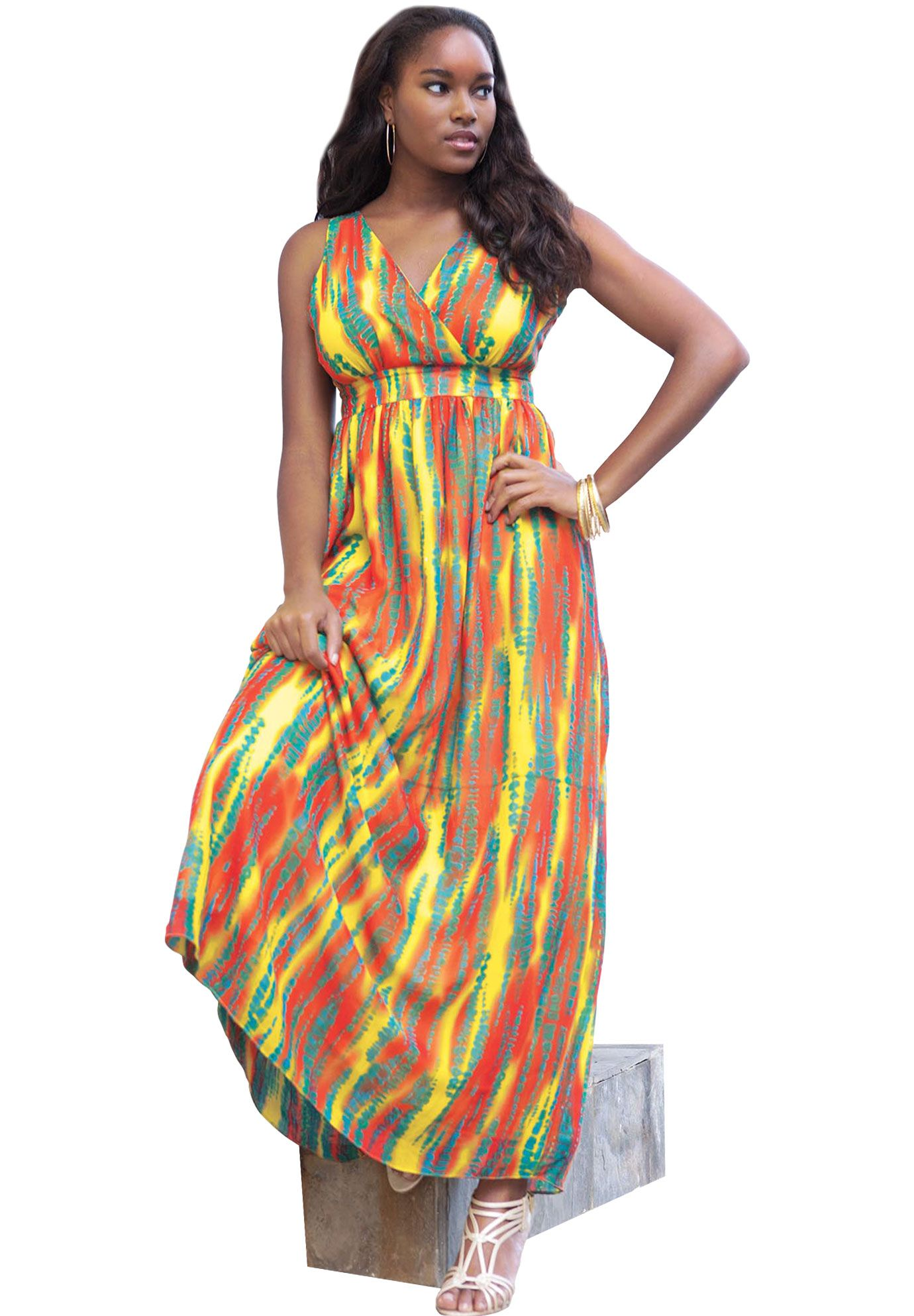 Tie Dye Print Maxi Dress | Plus Size Clearance | Jessica London | a ...