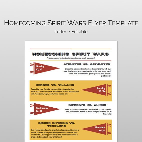 homecoming spirit wars and spirit week fully editable and customizable flyer word pages template f