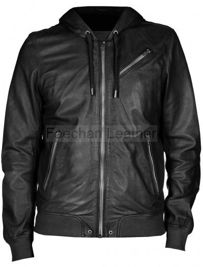 dbe98a563 Deluxe Men's Black Bomber Leather Jacket with Hood | Men Leather ...