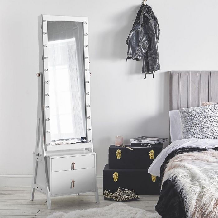 White LED Armoire with Drawers | Standing jewelry armoire ...