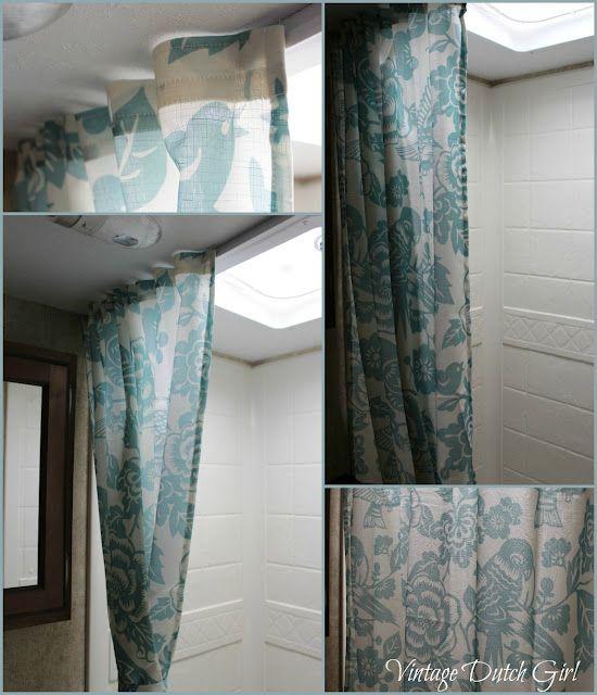 travel trailer shower curtain tutorial
