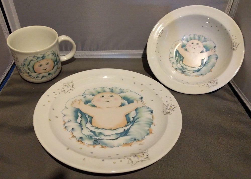 Cabbage Patch Kids Dishes 3 Piece Set Royal Worcester Porcelain England 1984 Royalworcester Kids Dishes Cabbage Patch Kids Cabbage Patch