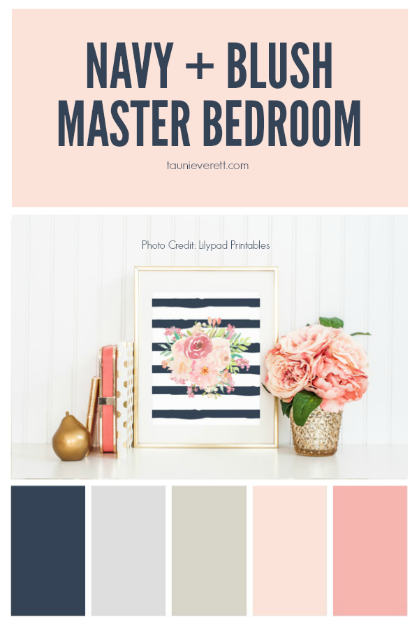Navy and Blush Master Bedroom | Master bedroom, Bedrooms