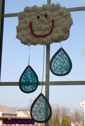 Cloud and rain drop craft for the Library in April MOVIL DE NUBE Y GOTITAS