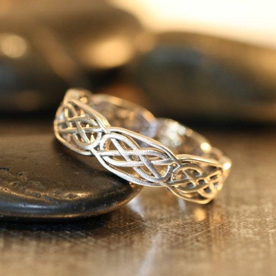 celtic wedding band 14k white gold unique wedding ring for