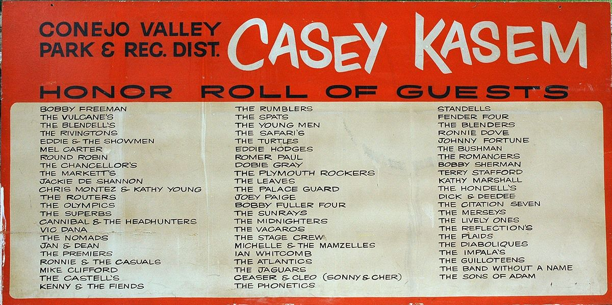 Before coming to fame with American Top 40, Casey Kasem hosted the live bands for dances at the Conejo Community Center in the late 1960s.