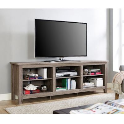 View Your Entertainment In Grand Style With This Forest Gate 70 Inch Wood Tv Stand It S Super Roomy With Adj Tv Stand Wood Wood Tv Stand Rustic Grey Tv Stand