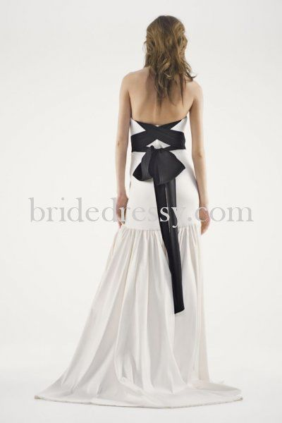 White Vera Strapless Mikado Trumpet Ebony Sash Wedding Dress