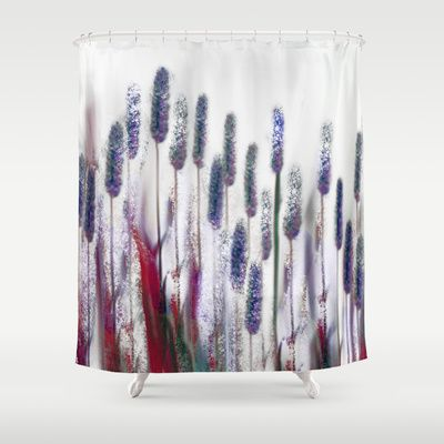 Reed. Shower Curtain by Mary Berg - $68.00   #ShowerCurtain society6.com/... #showercurtains #society6 #palepink #elegant #purple #romantic #bathroom #textile #homedesign #blue