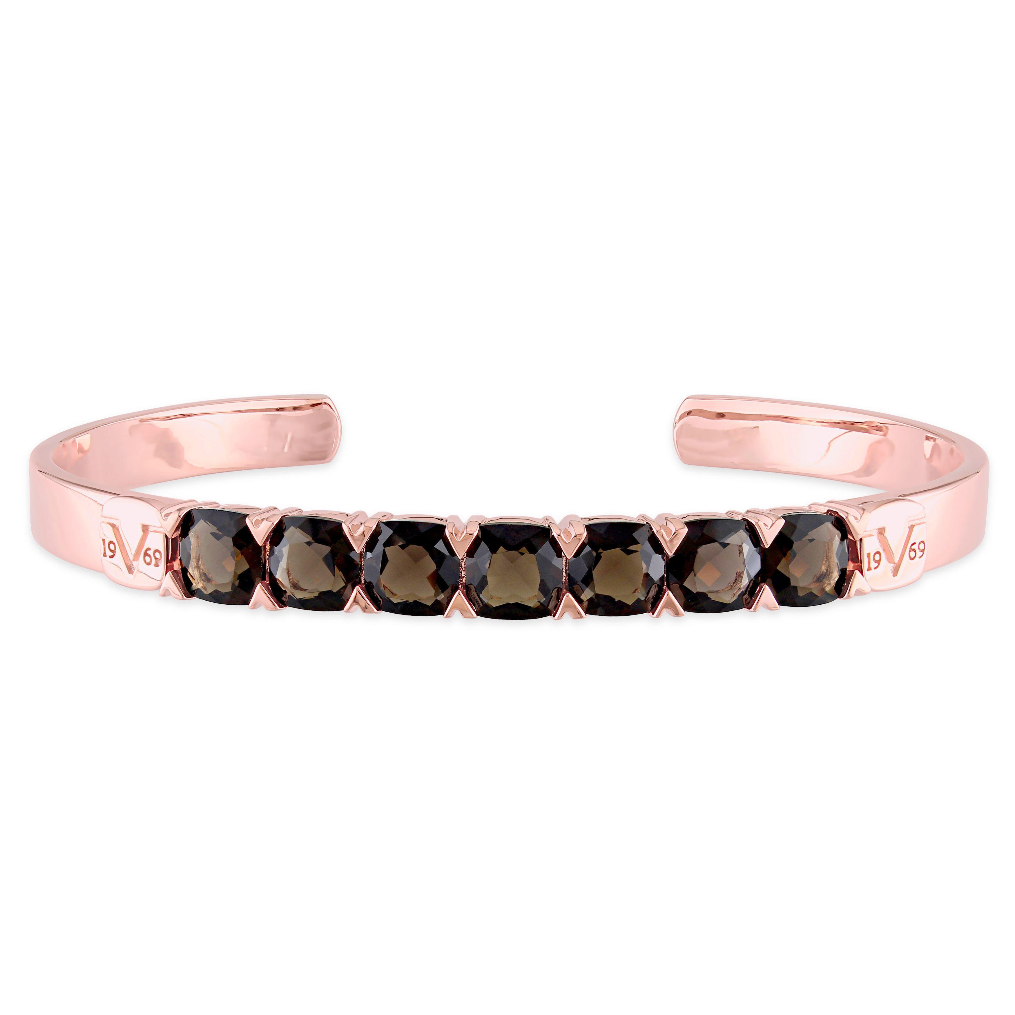V italia smokey quartz bangle bracelet in k rose gold plated