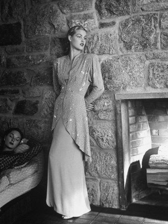 Model Wearing a Custom Made Evening Gown October 14,1946  by Nina Leen | More fashion lusciousness here: http://mylusciouslife.com/photo-galleries/historical-style-fashion-film-architecture/