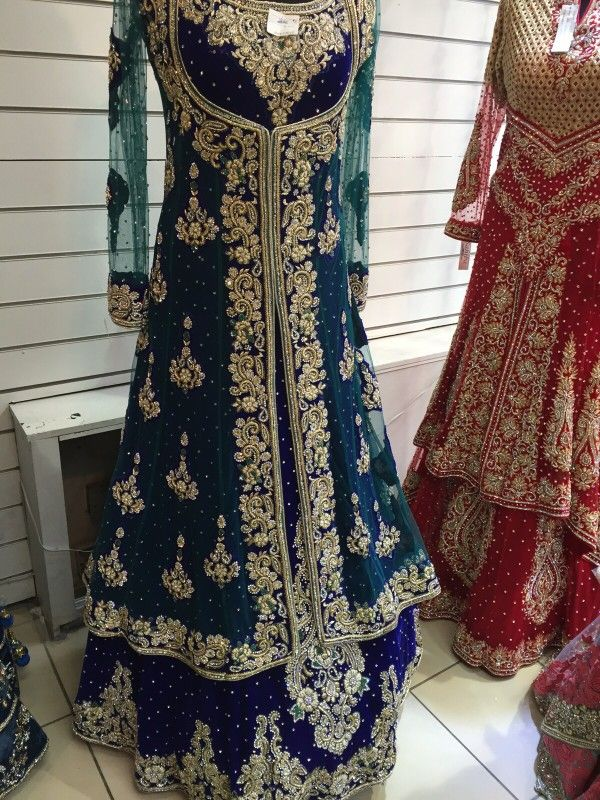 b29e19d616 Blue long kameez with long jacket. Crystal stone, beads and zardosi work