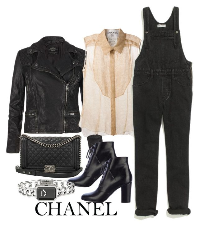 """""""Untitled #2705"""" by bubbles-wardrobe ❤ liked on Polyvore featuring Chanel, AllSaints and Madewell"""