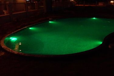 inground pools at night. A Picture Of True Kidney Inground Pool At Night With LED Lights Set On Green Pools