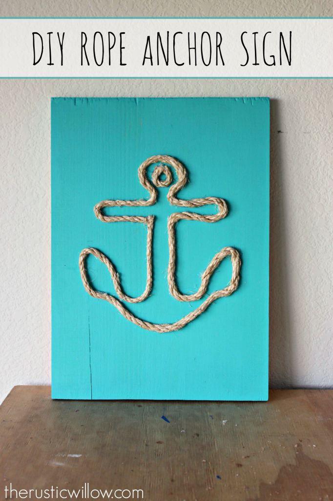 Diy Rope Anchor Sign With Images Diy Beach Decor Beach