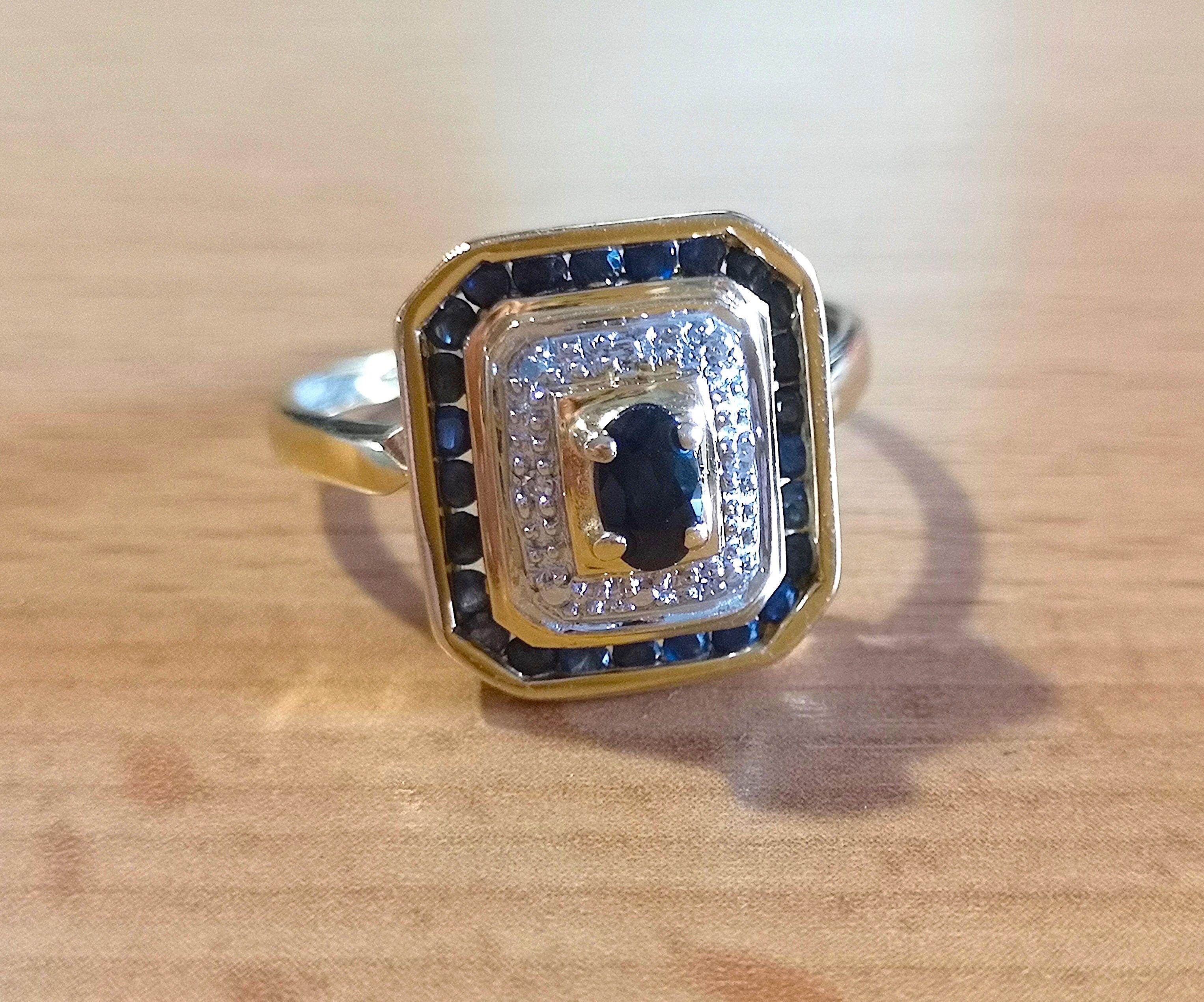 bague or 750 2 tons saphir et diamant