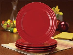 Red Set of 4 Double Ridge Dinner Plates by Rachael Ray by Rachael ...